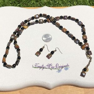 Tiger Iron and Black Agate Gemstone Necklace Set