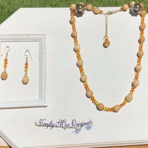 Amber Gemstone with Umber Yellow to Orange Swarovski Crystals Necklace Set