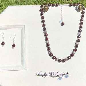Deep Red Jasper and Silver Necklace and Earrings Set