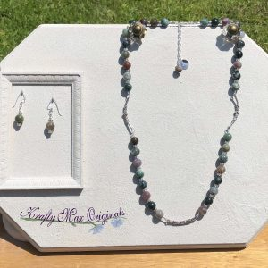 Fall Agate Necklace and Earrings Set