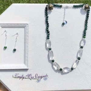 Green Gemstone and Quartz Crystal Necklace Set