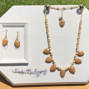 Picture Jasper Arrowheads and Mother of Pearl Necklace and Earrings Set