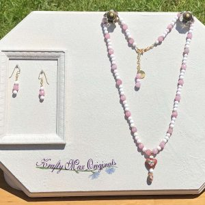 Pink and Vintage White Ceramic Beads with Cloisonné Drop Necklace Set