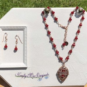 Red Velvet and Swarovski Crystal with Copper Necklace Set