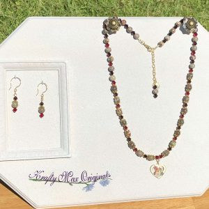 Red and Green Gemstone and Swarovski Crystal Necklace Set with Cloisonné Heart with Bird