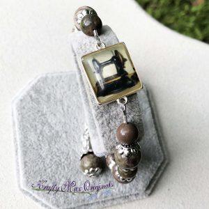 Vintage Sewing Machine and Gemstone Bracelet