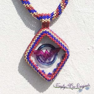 Wonder Woman Beadwoven Wearable Art Necklace with Center from Wildlife Plastics