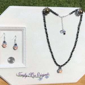 Grandmother's Face Necklace and Earrings Set