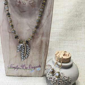 Grey Leaf with Crystals from Grandmothers Stash with Swarovski Crystals and Gemstones Necklace Set