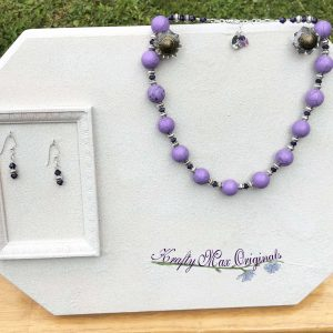 Purple Magnesite with Purple Swarovski Crystal Necklace Set