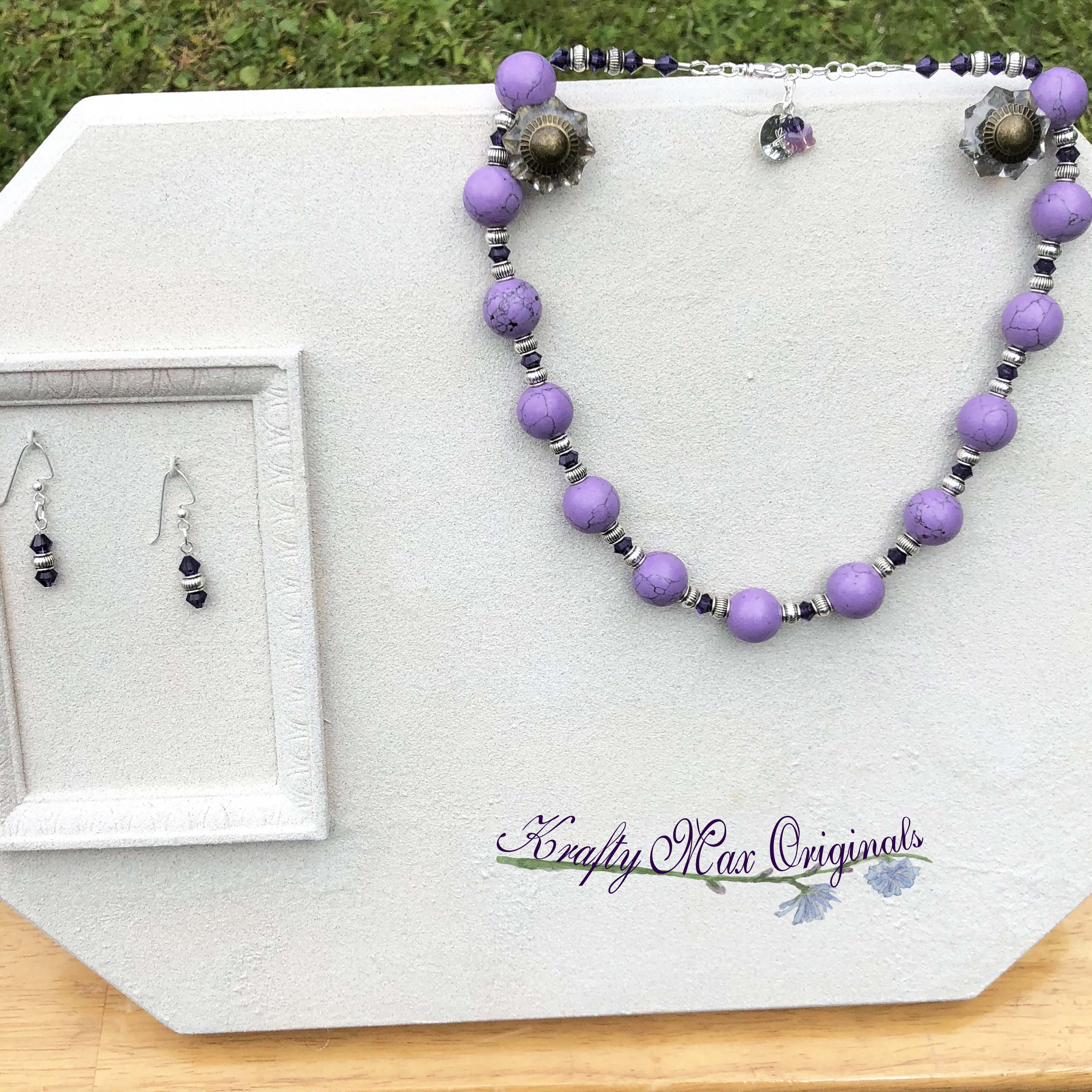f5cf38e6f Purple Magnesite with Purple Swarovski Crystal Necklace Set