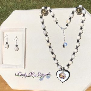 Black and White with Mixed Up Heart Necklace