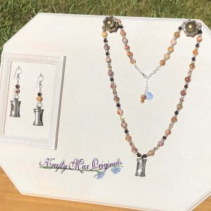 Brown Swarovski Crystals and Gemstones with a Time Turner Necklace Set