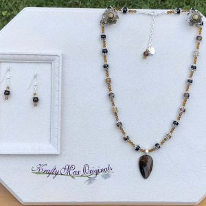 Brown Gemstone and Topaz Swarovski Crystals Necklace Set