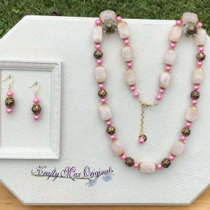 Pink Quartz with Glass Pearls and Vintage Roses Necklace Set