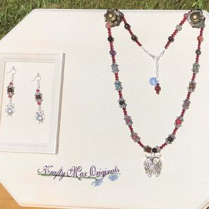Mixed Gemstones and Red Swarovski Crystals with Owls!