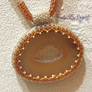 Brown and Ivory Small Agate Slice Beadwoven Wearable Art Necklace