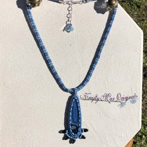 Blue Agate Slice with Dagger Beadwoven Necklace