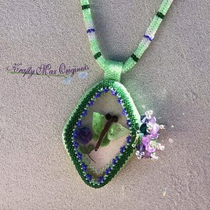 Green and Purple Butterfly Necklace with Center from Wildlife Plastics
