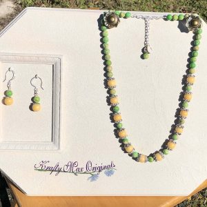Green and Yellow Gemstone Necklace Set