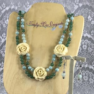 Green/Teal Double Strand Necklace with Vintage Ivory Roses from Grandmothers Stash