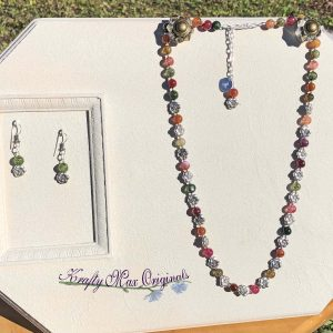 Multi Color Gemstones with Silver Plated Flowers Necklace Set