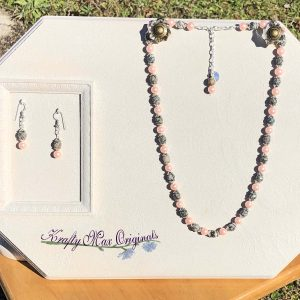 Pink Glass Pearls and Pink and Grey Gemstone Necklace Set