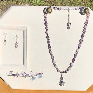 Purple Gemstone and Swarovski Crystals with a Star Essential Oils Cage Necklace Set