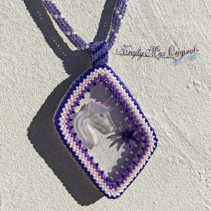 Purple Unicorn and Star Beadwoven Necklace with Center from Wildlife Plastics