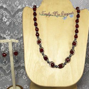 Deep Red and Silver Pearls Necklace Set