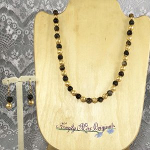 Fall Gemstone and Golden Glass Pearls Necklace Set