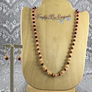 Peach and Deep Red Gemstones Simple Elegance Necklace Set