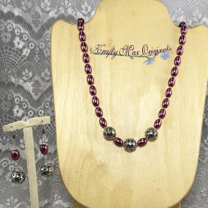 Pink Glass Pearls and Silver Beads Necklace Set