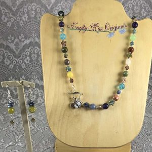 Rainbow Gemstones and Flowers Necklace Set