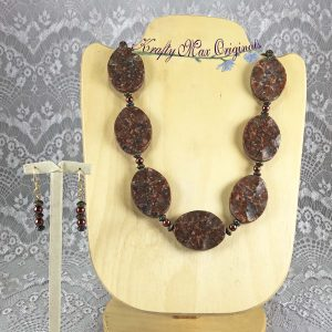Red Grey Black Gemstone and Glass Pearls Necklace-Set