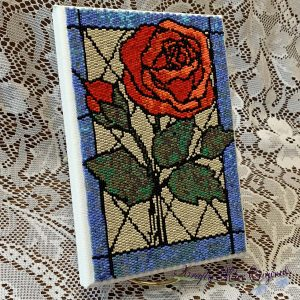 Stained Glass Rose 5×7 Beadwoven Wall Art Sample (March Kit)