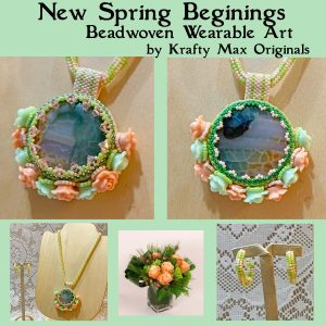 New Spring Beginnings Beadwoven Wearable Art Necklace and Earrings Set
