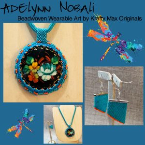 Adelynn Nobali Beadwoven Wearable Art Hand-painted Necklace from Grandmothers Stash