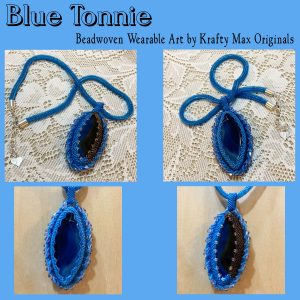 Blue Tonnie Beadwoven Wearable Art Necklace