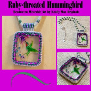 Ruby-throated Hummingbird Beadwoven Wearable Art Necklace