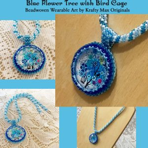 Blue Flower Tree with Bird Cage Beadwoven Art Necklace