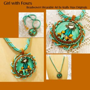 Girl with Foxes Beadwoven Wearable Art Necklace