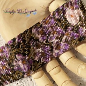 Purple Flowers Beadwoven Wearable Art Bracelet from Peyote Bracelet of the Month Kit (May 2019)