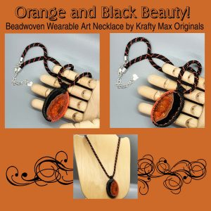 Orange and Black Beadwoven Wearable Art Necklace