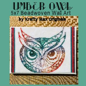 Umber Owl 5×7 Beadwoven Wall Art Sample (June Kit)