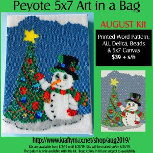Monthly 5×7 Beadwoven Art in a Bag August Snowman