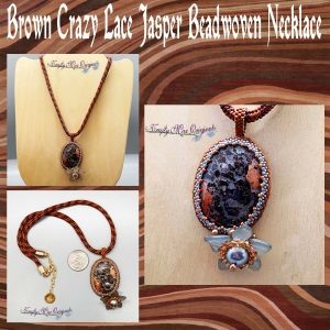 Brown Crazy Lace Jasper Beadwoven Wearable Art Necklace