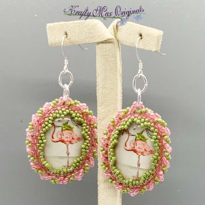 Pink and Green Flamingo and Frog Beadwoven Earrings