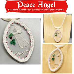 Peace Angel Beadwoven Wearable Art Necklace