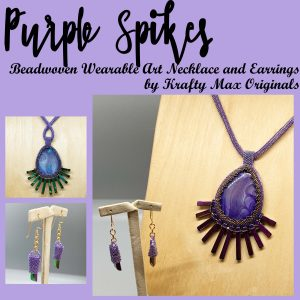 Purple Spikes Beadwoven Wearable Art Necklace and Earrings
